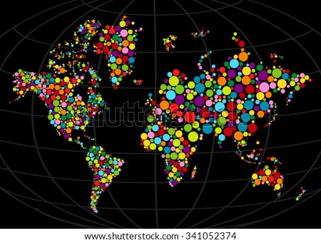 Multi colored mosaic world map painted with color circle.Abstract polygonal geometric design map. Vector illustration. Gradients free. - stock vector