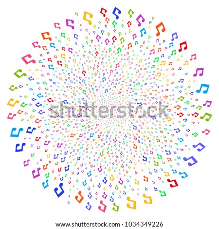 multi colored music notes swirl bang stock vector 1034349226