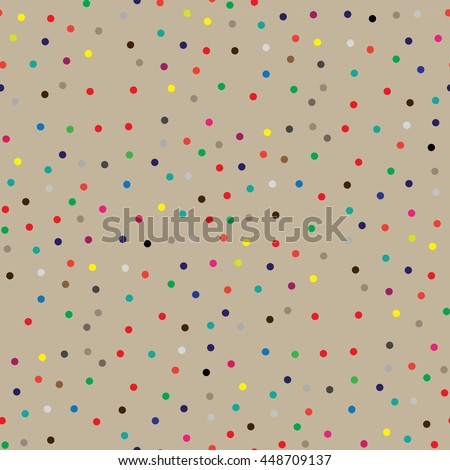 Multi-colored polka dots on a cream background