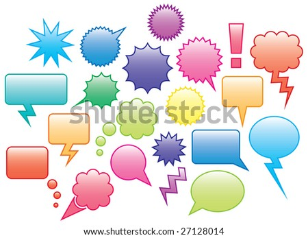 Multi colored speech bubbles and labels