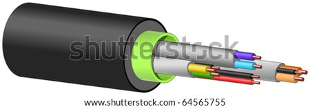 Multi colour electrical cables - stock vector