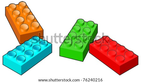 Multi-coloured childrens toy bricks - stock vector