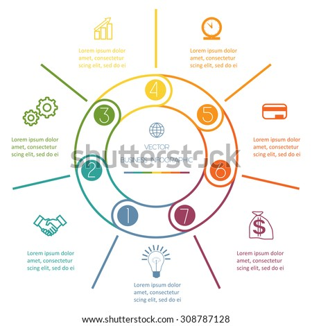 Multi-coloured ring numbered Infographic Cyclic Process from colourful lines with text areas on seven positions - stock vector
