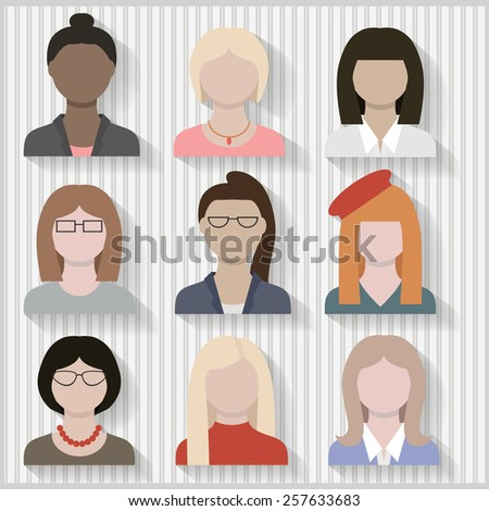 Multi Cultural Businesswomen and Girls Female Flat Icons with Shadows Layered and grouped