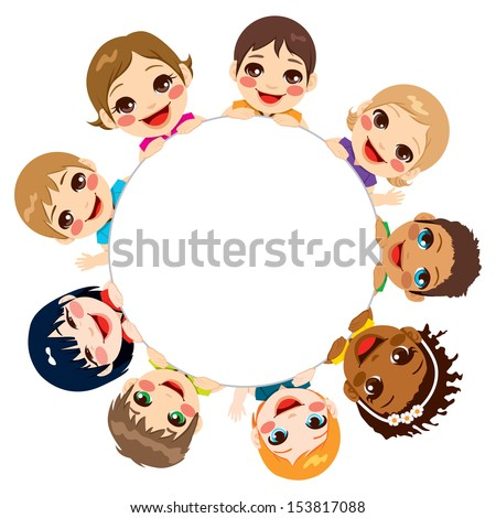Multi-ethnic group of children holding a white round billboard - stock vector