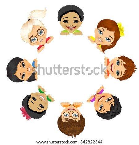 multi ethnic group of children holding a white round billboard - stock vector