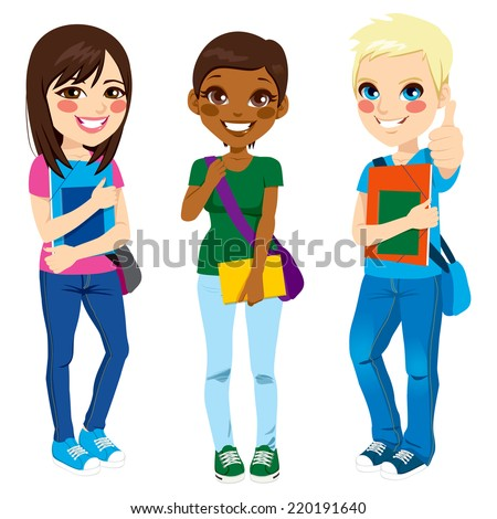 Multi ethnic group of three young teenage students standing with positive expression ready to go back to school with shoulder bag, folder and notebook - stock vector