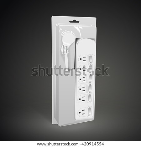multi-socket adapter with package isolated on black background. 3D illustration. - stock vector