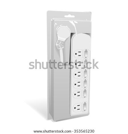 multi-socket adapter with package isolated on white background - stock vector