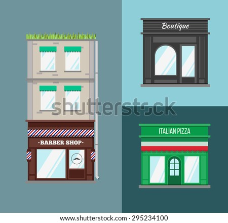 Multi-storey building with roof terrace and a shop on the ground floor. Flat style vector illustration.  - stock vector