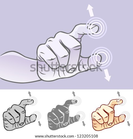 Multi-touch Hand Gestures For Smart-phone, Tablet And Pad- UnPinch - stock vector