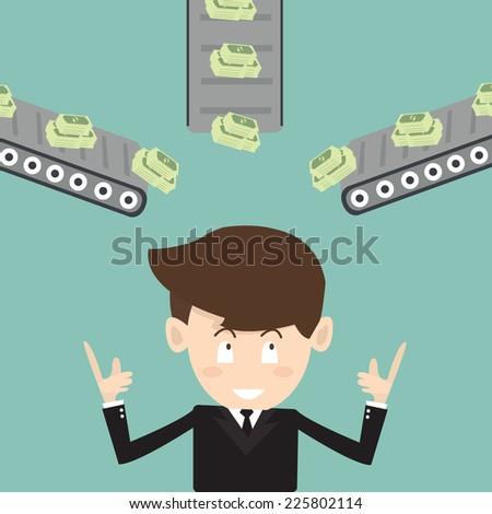 multichannel income  - passive income - stock vector