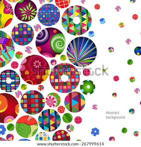 Multicolor abstract bright background with ornamental circles. Elements for design. Eps10. - stock vector