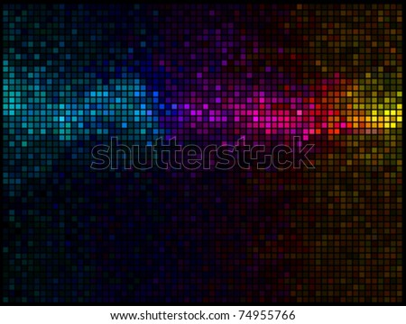 Multicolor abstract lights disco background. Square pixel mosaic vector - stock vector