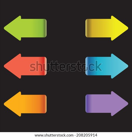 Multicolor arrows. Colorful arrow tags. Direction sign.