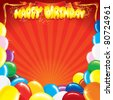 Multicolor Balloons with the words Happy Birthday, template for your own card design - stock vector