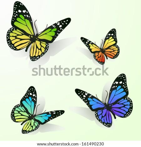 Multicolor butterflies - stock vector