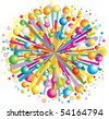 Multicolor cartoon burst, explode or bang, vector illustration - stock vector
