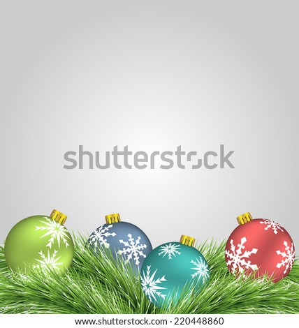 Multicolor Christmas balls on pine branches