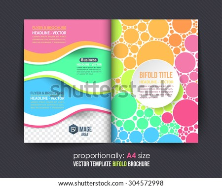 Multicolor Circle Elements Style Business Bi-Fold Brochure. Corporate Leaflet, Cover Design - stock vector