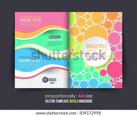 Multicolor Circle Elements Style Business Bi-Fold Brochure. Corporate Leaflet, Cover Design - stock vector