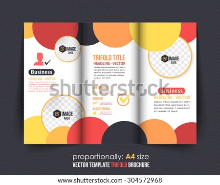 Multicolor Circle Elements Tri-Fold Brochure. Corporate Leaflet, Cover Design - stock vector