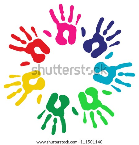 Multicolor creative diversity hands circle isolated background. Vector illustration layered for easy manipulation and custom coloring. - stock vector