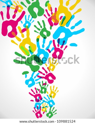 Multicolor creative diversity hands splash background. Vector illustration layered for easy manipulation and custom coloring. - stock vector