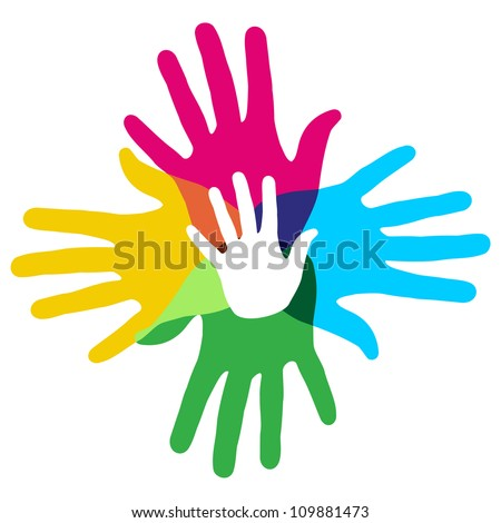 Multicolor creative diversity hands symbol. Vector illustration layered for easy manipulation and custom coloring.