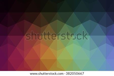 Multicolor dark polygonal illustration, which consist of triangles. Geometric background in Origami style with gradient. Triangular design for your business. Rainbow, spectrum image.