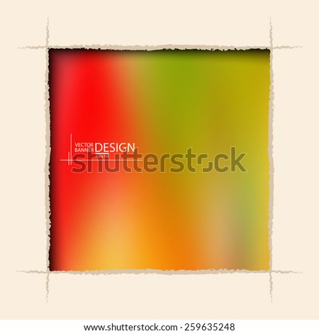 Multicolor Design Templates. Blurred Abstract Modern Vector Background. square ragged hole on coffee wall. - stock vector