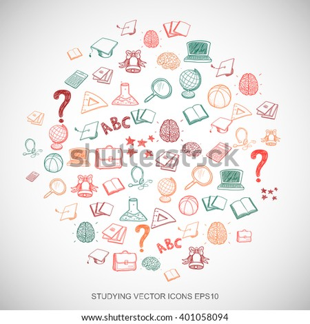 Multicolor doodles flat Hand Drawn Education Icons set In A Circle on White background. EPS10 vector illustration. - stock vector