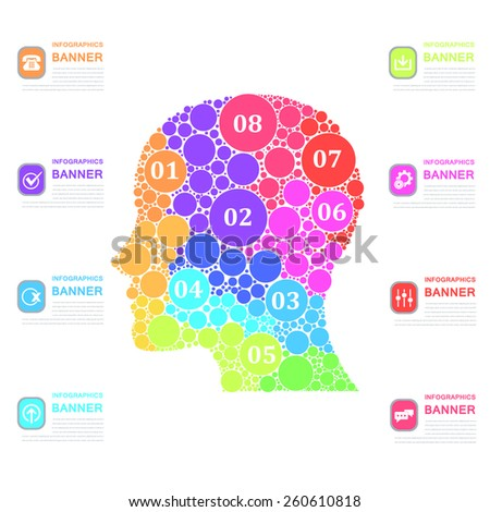 Multicolor Dots Human Head Business Concept Vector Infographics  - stock vector