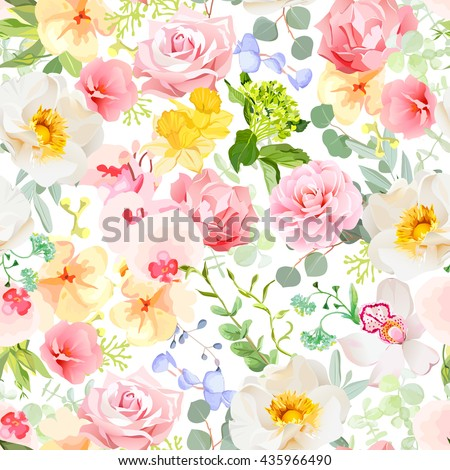 Multicolor floral seamless vector print with varied plants and flowers. Orchid, rose, hydrangea, carnation, daffodil, camellia, narcissus, wildflowers. Summer cheerful pattern. - stock vector