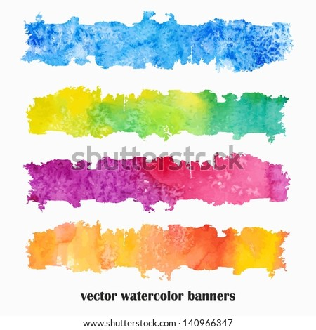 Multicolor grunge banners. Urban style. Watercolor spots.