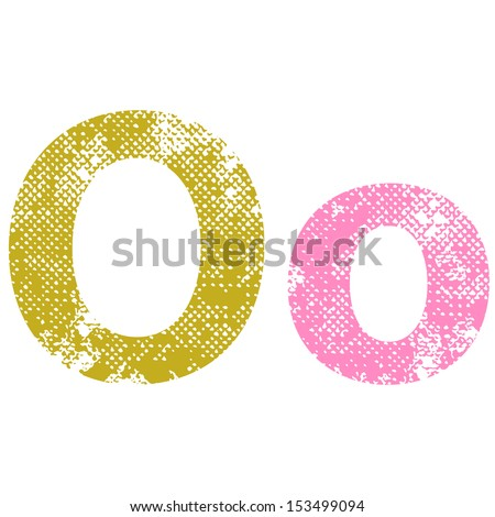 Multicolor grunge letters O. Vector illustration.