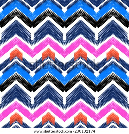 Multicolor hand drawn pattern with brushed zigzag lines. Vector seamless bold print with chevron ornament painted with brushstrokes in various bright colors nautical blue, pink, orange, white, black - stock vector