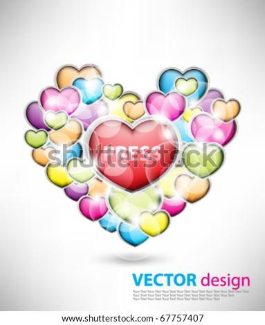 Multicolor heart design - stock vector