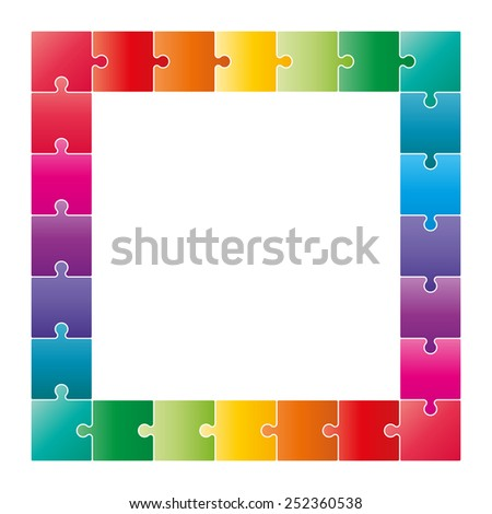 Multicolor jigsaw puzzle frame border. Vector graphic template. - stock vector