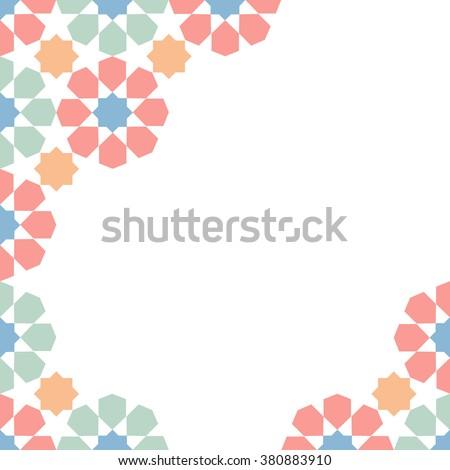 multicolor moroccan zellige mosaic template. vector illustration - stock vector