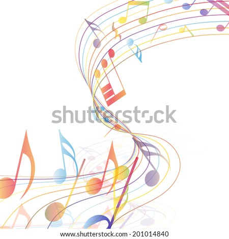 Multicolor musical note staff background. Vector illustration EPS 10 with transparency. - stock vector