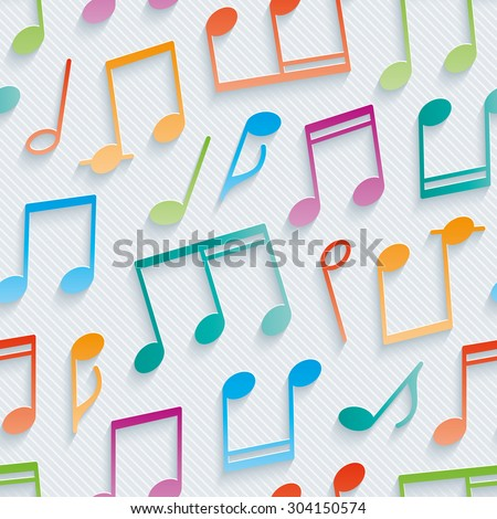 Multicolor musical wallpaper. 3d seamless background. Vector EPS10. - stock vector