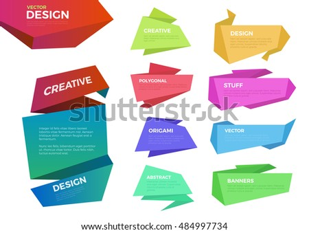 Multicolor origami paper labels vector template set. Infographics background concept.
