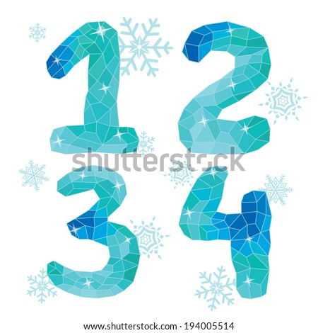 Multicolor polygons isolated numbers  1,2,3,4 and snowflakes on white background.Ice winter collection,cool colors.The vector. - stock vector