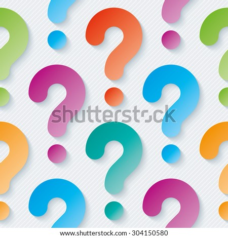 Multicolor question marks with cut out effect. 3d seamless background. Vector EPS10. - stock vector