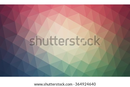 Multicolor red, green polygonal illustration, which consist of triangles. Geometric background in Origami style with gradient. Triangular design for your business in vector.