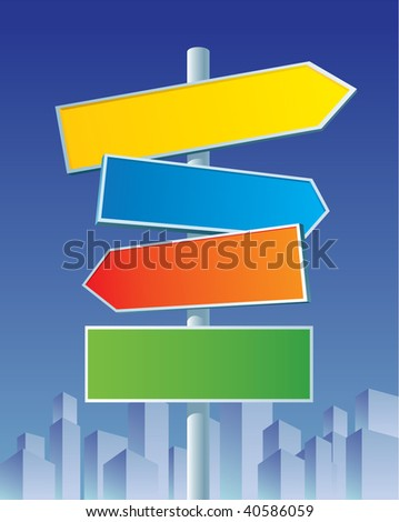 Multicolor roadsigns on city background.