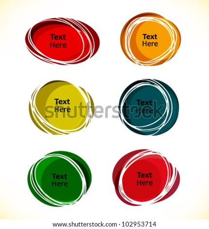 Multicolor round text frames for speech and thought bubbles - stock vector
