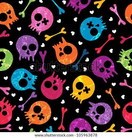 Multicolor seamless pattern with skulls and hearts. EPS 10 vector illustration. Contains transparency effects. - stock vector