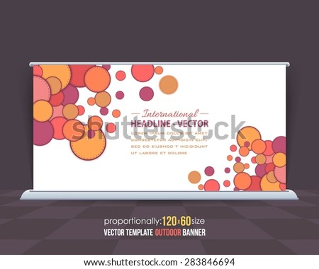 Multicolor Square Elements Business Outdoor Banner Design, Advertising Vector Template  - stock vector